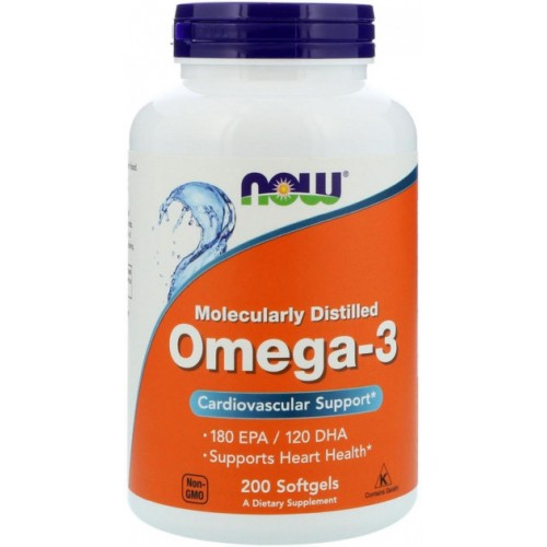 NOW Foods Omega 3 1000 мг 200 желатиновых капсул