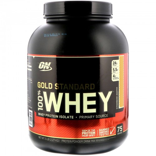Протеин Optimum Gold Standard 100% Whey, 2.27 кг - Клубника c бананом