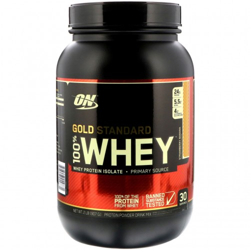 Протеин Optimum Gold Standard 100% Whey, 909 г - Клубника банан